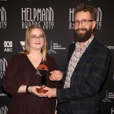 Bea and Joey Blackwell accept Best Male Actor In A Supporting Role In A Play on behalf of their father Paul Blackwell.