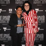 Ursula Yovich and Alana Valentine poses with the Helpmann Award for Best Original Score