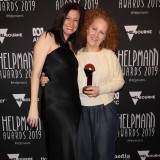 Jude Gunn and Kate Gould poses with the Helpmann Award for Best Special Event.