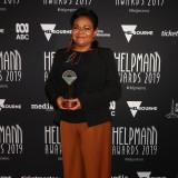 Ursula Yovich poses with the Helpmann Award for Best Female Actor in a Musical for Barbara and the Camp Dogs.
