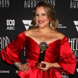 Ali McGregor poses with the Helpmann Award for Best Cabaret Performer for Yma Sumac - The Peruvian Songbird.