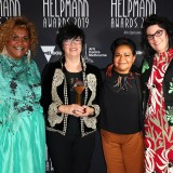 Elaine Crombie, Vicky Gordon, Ursula Yovich and Alana Valentine pose with the Helpmann Award for Best Musical - Barbara and the Camp Dogs by Belvoir in association with Vicki Gordon Music Productions Pty Ltd.