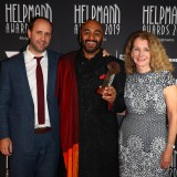 Eamonn Flack, S. Shakthidaran and Sue Donnelly pose with the Helpmann Award for Best New Australian Work - Counting & Cracking by Belvoir & Co-Curious.