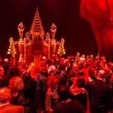 """2014 JC Williamson dinner guests mingling on QPAC's magnificent """"The King and I"""" stage"""